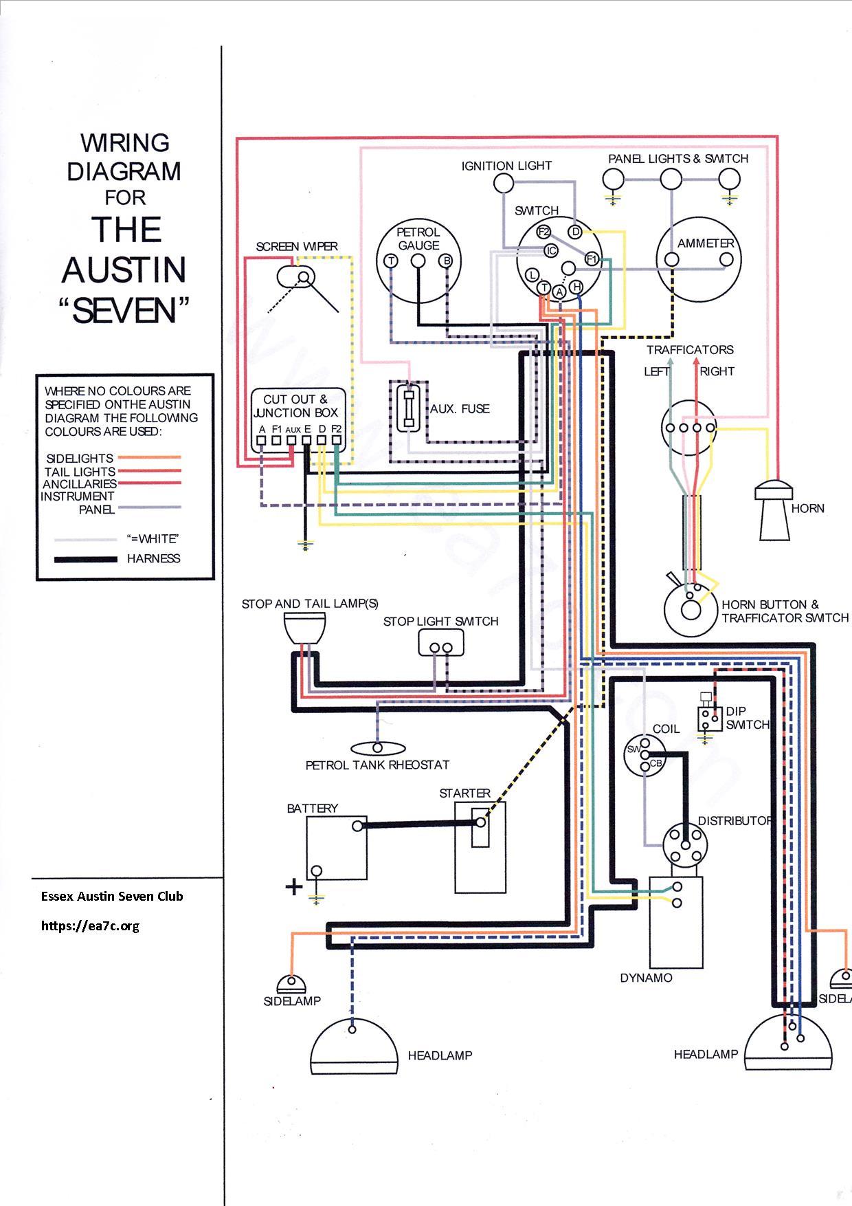 Austin Distributor Wiring Diagram Mastering 2002 Kia Sedona Instrument Cluster Fuse Box Amotmx Technical Data Essex Seven Club Rh Ea7c Org Points Coil And